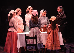 "(L to R) Kristen J. Smith, Leah Horowitz, Lauren T. Mack, Adrienne Barbeau and Bob Amaral in the Music Circus production of ""Fiddler on the Roof"" at the Wells Fargo Pavilion Aug 14-19. Photo by Charr Crail."