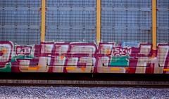 Jigl (Chicago City Limits) Tags: freight train graff graffiti benching rails railroad benched freights fr8s art artwork motion steel trains tracks auto racks rack autorack autoracks holy roller rollers jigl