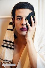 Shamed (BeccaBauman) Tags: tallis genderqueer nailpolish gay queer nikond610 fierce naturallight formerlyreligious lgbtq kippa gender beccabaumanphotography nikon orthodox makeup color gendernonconforming lipstick genderfluid yarmulka trans
