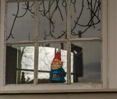 Neighbourhood Watch (stevefge) Tags: nbrabant ravenstein tuinhuisje gnome kabouter watchers window reflectyourworld reflections nederland netherlands nl nederlandvandaag