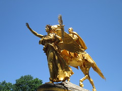 Civil War Statue General Sherman on Horseback with Angel 1339 (Brechtbug) Tags: street plaza new york city nyc roof cactus building green art yellow statue architecture angel bronze gold hotel leaf wings construction hands war pin afternoon shadows general near top flag fingers profile civil american underneath needles avenue 5th cushion sherman 59th the 06152014