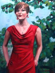 Kat (joegranskiart) Tags: trees red portrait tree green art painting necklace bush kat paint dress earring portraiture oil impressionism earrings bushes impressionist realism oilpaint naturalism impressionisitic
