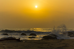 The Ocean Flower (aryavarthan) Tags: morning blue sunset sea sky india seascape beach nature beautiful sunrise canon golden fishing fisherman colours madras wave beginning shore boating colourful chennai seashore tamilnadu goldenhour starting roi beachside kovalam cwc covelong aryavarthan
