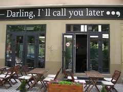 - Darling, I'll call you later ... (VERUSHKA4) Tags: canon moscow city cityscape russia europe door cafe chair table enter flover phrase words title wall reflection letters summer day june verdure explore find funny interesting hccity summertime outdoor