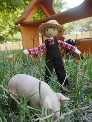 farmer doll (wildflowertoys) Tags: woodentoys dollhousedolls toybarn bendydoll naturaltoys waldorftoys elvesandangels dollhousefamily toystable wildflowerinnocence
