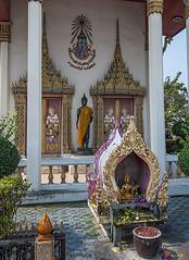 Wat Mahawong Ubosot Entrance and Boundary Stone Shrine (DTHSP0033)      (Gerry Gantt Photography) Tags: thailand temple wat  totallythailand samutprakanprovince  thailand  mueangsamutprakandistrict mueangsamutprakan samutprakanprovince mueangsamutprakan samutprakanprovince watmahawong