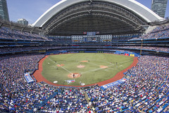 When the marathon began, more than 46,000 were on hand for Jays and Tigers. (LottOnBaseball) Tags: baseball tigers bluejays mlb rogerscentre canadabaseballday