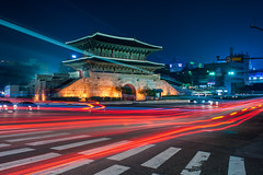 Dongdaemun at Dark (C. Rich Imagery) Tags: longexposure wall night palace korea korean seoul slowshutter fortress dongdaemun lighttrail