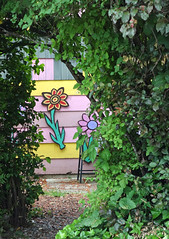 Hidden Garden (judy_and_ed) Tags: yard unguessed path saltspringisland ssi colorfulhouse paintedflowers rossparknet guesswheresaltspring