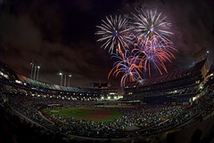 Fireworks at the Coliseum (Greg - AdventuresofaGoodMan.com) Tags: california usa lights oakland athletics baseball fireworks stadium explosion boom fisheye celebration event coliseum colisseum oaklandcoliseum as oaklandcolisseum ococoliseum
