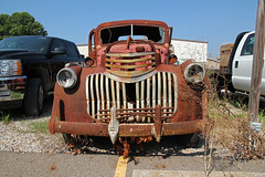 Abandoned Truck  Lancaster, OH (Pythaglio) Tags: county ohio classic chevrolet abandoned truck missing automobile industrial parking neglected engine rusty lot utility pickup headlights pole 1940s bumper rusted lancaster grille fairfield