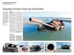 Vlieland Leopards - End of the Line in de Leeuwarder-Courant (Dirk Bruin) Tags: vlieland line end range tanks kamp wrecks panzer leopards csk targets luchtmacht cavalerie militair schiet klu vliehors oefenterrein detachement hartziel