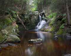 Enders Falls (Bereno DMD) Tags: longexposure trees wild color green nature water forest river flow waterfall moss woods rocks connecticut smooth newengland overcast redwater geology wilderness longshutter ndfilter endersfalls