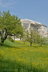 Trees in the grounds of the Goetheanum, Dornach, Solothurn, Switzerland (Roberto Herrett) Tags: park blue trees green vertical gardens garden switzerland spring nobody grounds solothurn stockphoto goetheanum dornach rherrettflk