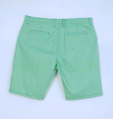 กางเกงสามส่วนผ้า Cotton Spandex ผู้ชายอ้วนสีเขียว หลัง