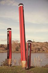 Pencil it In (Paul J's) Tags: art pencil pencils river artwork daniel parade scuplture installation clifford balancing act hb wanganui whanganui manawatu somme