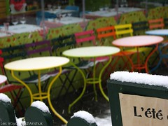 L't / Summer (Anshukisback) Tags: summer snow paris season table colours chairs hiver montmartre contraste neige t couleur chaise saison