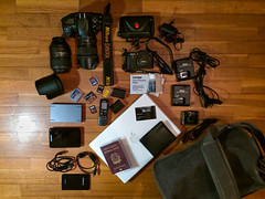 Equipment for Iraq (Giulio Magnifico) Tags: travel iraq equipment manfrotto macbook photoreportage nikon1v1 1nikkor10mmf28 nikond800e sigma35mmf14dghsm ml840h nikkormicro105mmafsvrf28