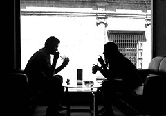 friends (arequipa, peru) (bloodybee) Tags: boy people bw white black peru americalatina southamerica glass girl smile silhouette backlight bar table friend couple drink candid straw talk couch sofa armchair arequipa caf 365project