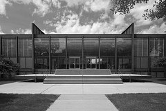 South Elevation (See.jay) Tags: school shadow bw white chicago black reflection glass architecture modern campus grid design steel steps modernism institute architect amour iit shade miesvanderrohe blinds suspended van travertine der ludwig mies entry institutional frostedglass ibeam crownhall rohe tertiary steelframe illinoisinstituteoftechnology flatperspective universalspace srcrownhall clearspan