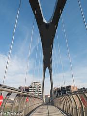 Sospeso a un aquilone (Gian Floridia) Tags: milano portello viarserra aquilone bridge ciclopedonale flying kite passerella ponte quartiere sospeso suspended volante