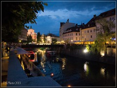 Ljubljana by night (T.S.Photo (Teodor Sirbu)) Tags: river blue hour ljubljana slovenia evening twilight city lights capital yugoslavia architecture travel photography low light image stabilisation olympus epl1