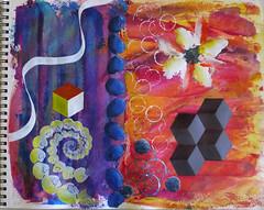 Blue eggs (Karen Cattoire) Tags: blue orange spiral colorful cube eggs visualjournal artjournal karencattoire