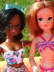Sindy summer pool party (miss♡sindy) Tags: summer sun water pool girl sunglasses vintage garden doll dolls auburn retro trendy 1970s dolly paddling seventies pedigree sindy