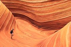 The Wave : Vertigo (baddoguy) Tags: arizona people cliff texture traveller hiker curve thewave coyotebuttes pariyacanyon vermillioncliffswildness