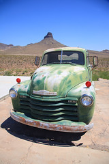 Route 66 - Old Green Chevy (Frank Footer Fotos) Tags: auto road old trip travel blue vacation arizona sky usa mountains southwest west green art classic chevrolet dusty home car sunshine wall rural america truck vintage landscape outdoors photography freedom office junk highway colorful desert framed rustic fine mother murals sunny pickup az roadtrip headlights 66 historic retro hills route nostalgia chevy posters buy prints americana kicks motor roadside decor rt attractions jalopy buttes