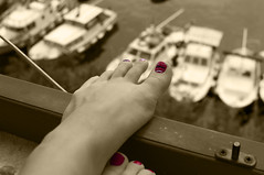 Harbour story (Flicky 90) Tags: red bw black feet port foot mono boat nikon mood toe harbour nail nailcolor d90