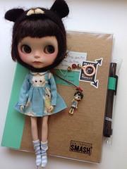 Little Sol is ready for new adventure ;) (Aya_27) Tags: bear sol hat bigeyes doll dress sweet blythe lovely custom bighead kewpie dollie sweetdays vainilladolly smashbook petitecreayations