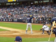 Evan Longoria (escar4) Tags: newyork baseball bronx swing yankeestadium newyorkyankees jeter mlb americanleague basehit evanlongoria tampabayrays