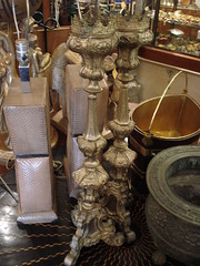 "PAIR METAL OVERLAY ALTAR CANDLESTICKS. • <a style=""font-size:0.8em;"" href=""http://www.flickr.com/photos/51721355@N02/14618085740/"" target=""_blank"">View on Flickr</a>"