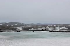 Frozen river and fumaroles in Landmannalaugar