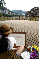 Zhenyuan Ancient Town  (Melinda ^..^) Tags: china houses people heritage river painting town ancient drawing sketching chinese mel melinda guizhou   chanmelmel