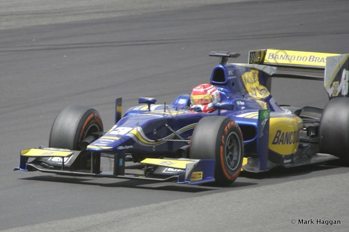 Felipe Nasr in his Carlin car during GP2 practice at the 2014 British Grand Prix