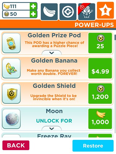 Despicable Me: Minion Rush Items Store: screenshots, UI