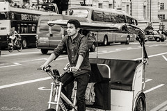 Bicycle cab (Sarah Csillagi) Tags: bridge london monochrome westminster bicycle blackwhite nikon cab taxi londres vlo westminsterbridge noirblanc