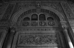 (John Donges) Tags: blackandwhite sculpture philadelphia night facade carved relief archway witherspoonbuilding 4115
