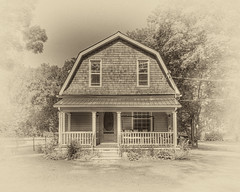 The old homestead (ChrisBaldwin) Tags: white house black antique front swing porch