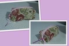 Mini estojo (ceciliamezzomo) Tags: pink flowers flores flower floral pencil handmade small flor rosa case fabric pearl patchwork pencilcase pérola tecido estojo flowered pequen perola