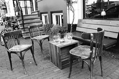 drunk up (schmitty68) Tags: street bw beer amsterdam canon lost chair place drink outdoor over bier xxx tisch stuhl strase gesellig