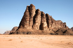 The Seven Pillars at Wadi Rum Jordan (Dave Russell (1.5 million views thanks)) Tags: location movie film historic history sand rock eastern middleeast scenic scene vista outdoor view scenery maan landscape travel wadi rum jordan desert lawrence arabia seven pillars mountain