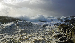 Frste hststormen (Arnt Kvinnesland) Tags: autumn seascape storm norway landscape windy gale september hav hst skum sj blger karmy hemnes uvr hebnes klippekyst sonya6000