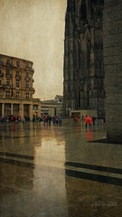 simple (silviaON) Tags: city rain umbrella cathedral dom cologne kln september dome textured 2014 flypaper domplatte
