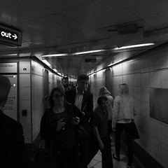 In a Rush Underground - London Sept 2014 (GOR44Photographic@Gmail.com) Tags: city people london square person mono tube fujifilm sq xf1 gor44