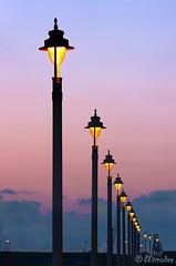 streetlights in a row (Mimadeo) Tags: light sunset sky lamp electric bulb night evening twilight streetlight outdoor dusk streetlamp illumination row illuminated line lamppost lantern illuminate inarow