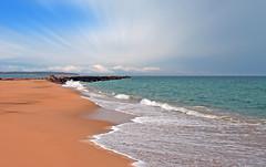 12 Miles Away..... (Melanie Bradley) Tags: ocean blue seascape beach nature water clouds landscape island sand surf waves shoreline newengland rhodeisland coastline newshoreham oceanveiw