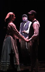 "(L to R) Lauren T. Mack, Bob Amaral and Allen E. Read as Tzeitel, Tevye and Motel in the Music Circus production of ""Fiddler on the Roof"" at the Wells Fargo Pavilion Aug 14-19. Photo by Charr Crail."